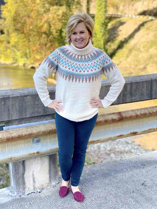 50 IS NOT OLD | FALL IS THE PERFECT TIME OF YEAR FOR JEGGINGS AND SWEATERS | FASHION OVER 40