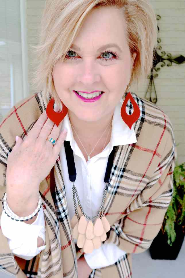 50 IS NOT OLD   HOW TO YOU WEAR A PLAID RUANA IN THE FALL   FASHION OVER 40
