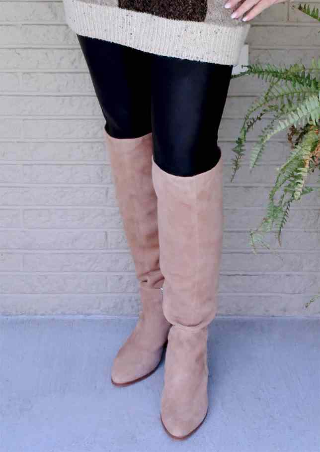 Beige Over The Knee Boots by Vince Camuto worn by Fashion Blogger 50 Is Not Old