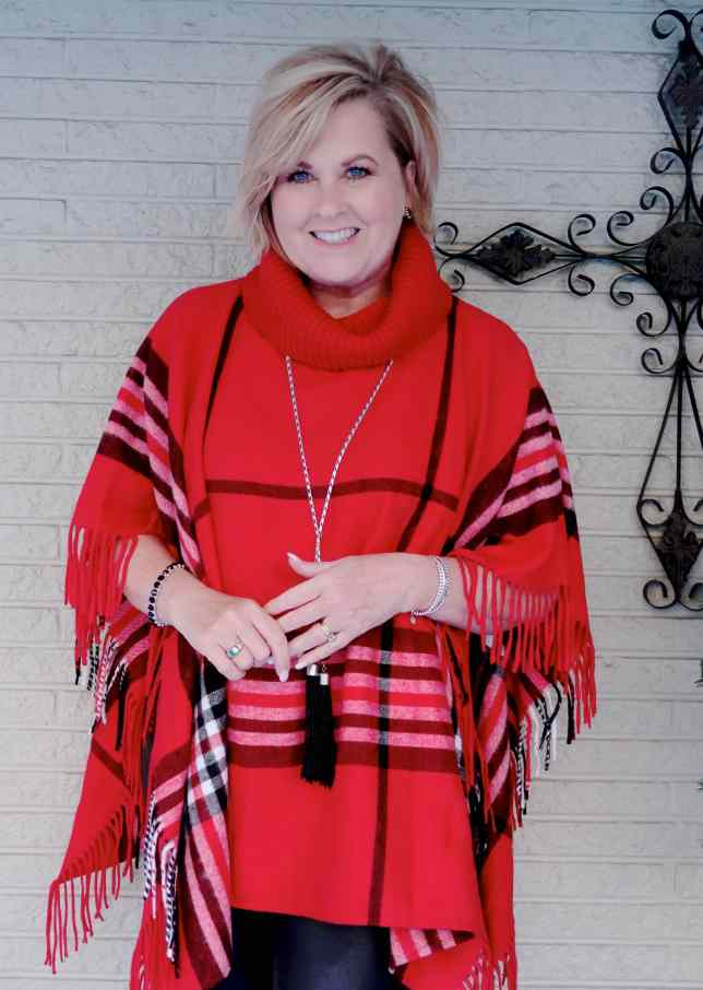 50 IS NOT OLD | HOW TO STYLE A PONCHO FOR A CASUAL FALL LOOK | FASHION OVER 40