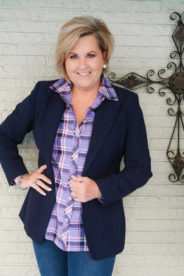 Purple plaid shirt and blue Blazer worn by Fashion Blogger 50 Is Not Old