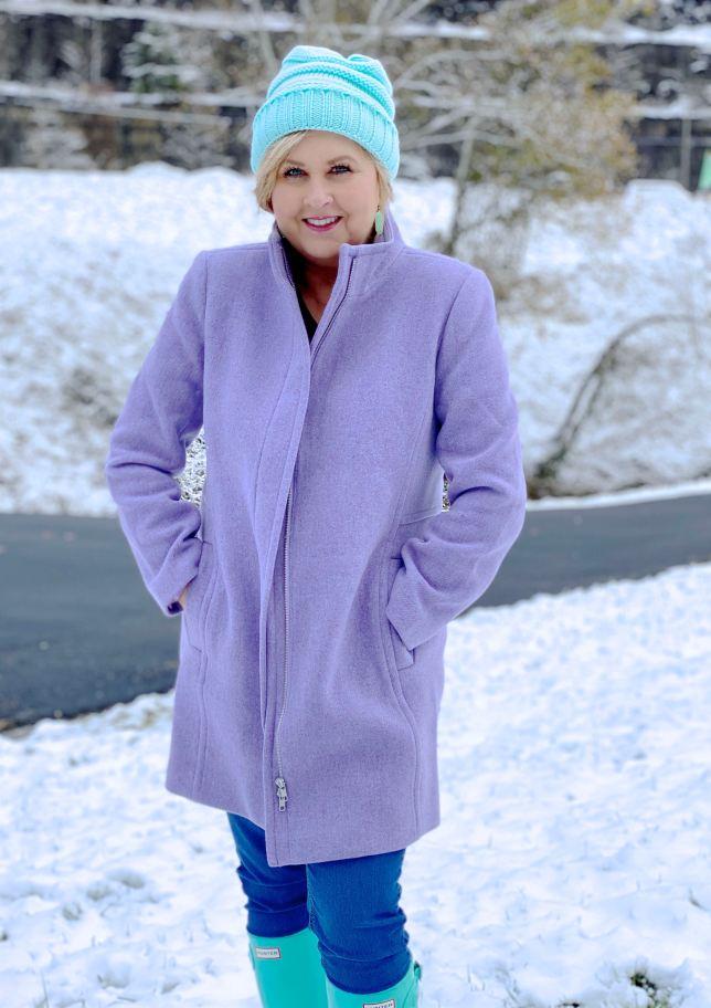 A purple wool coat for winter