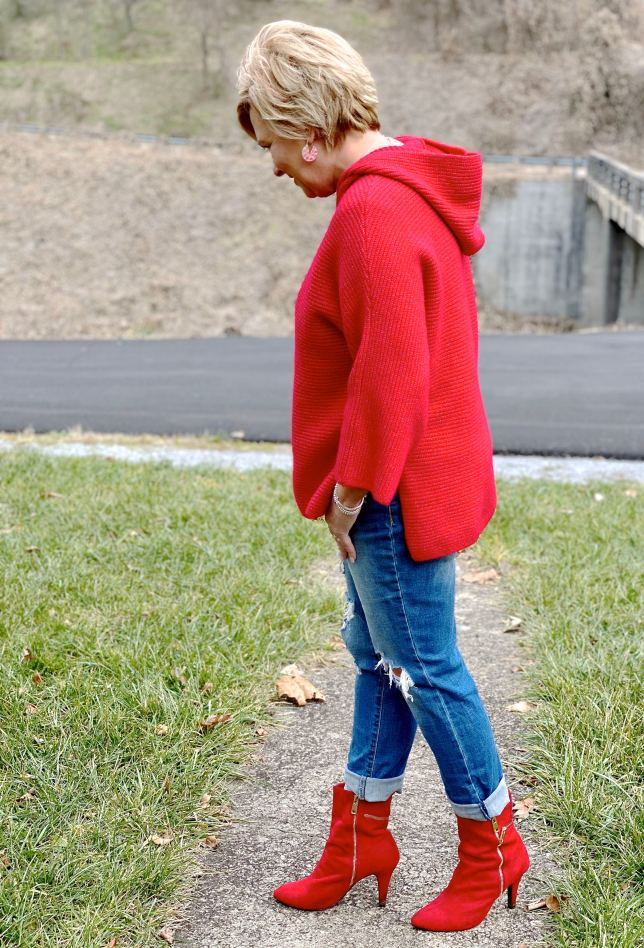 red boots and distressed jeans