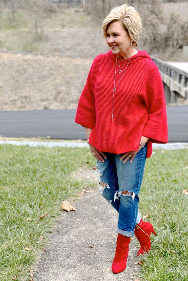 Red sweater and red boots