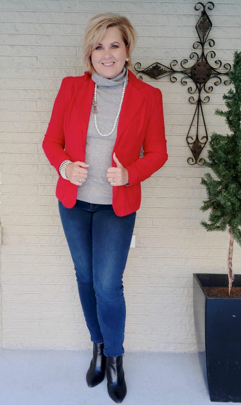 Red Blazer with Cashmere Turtleneck