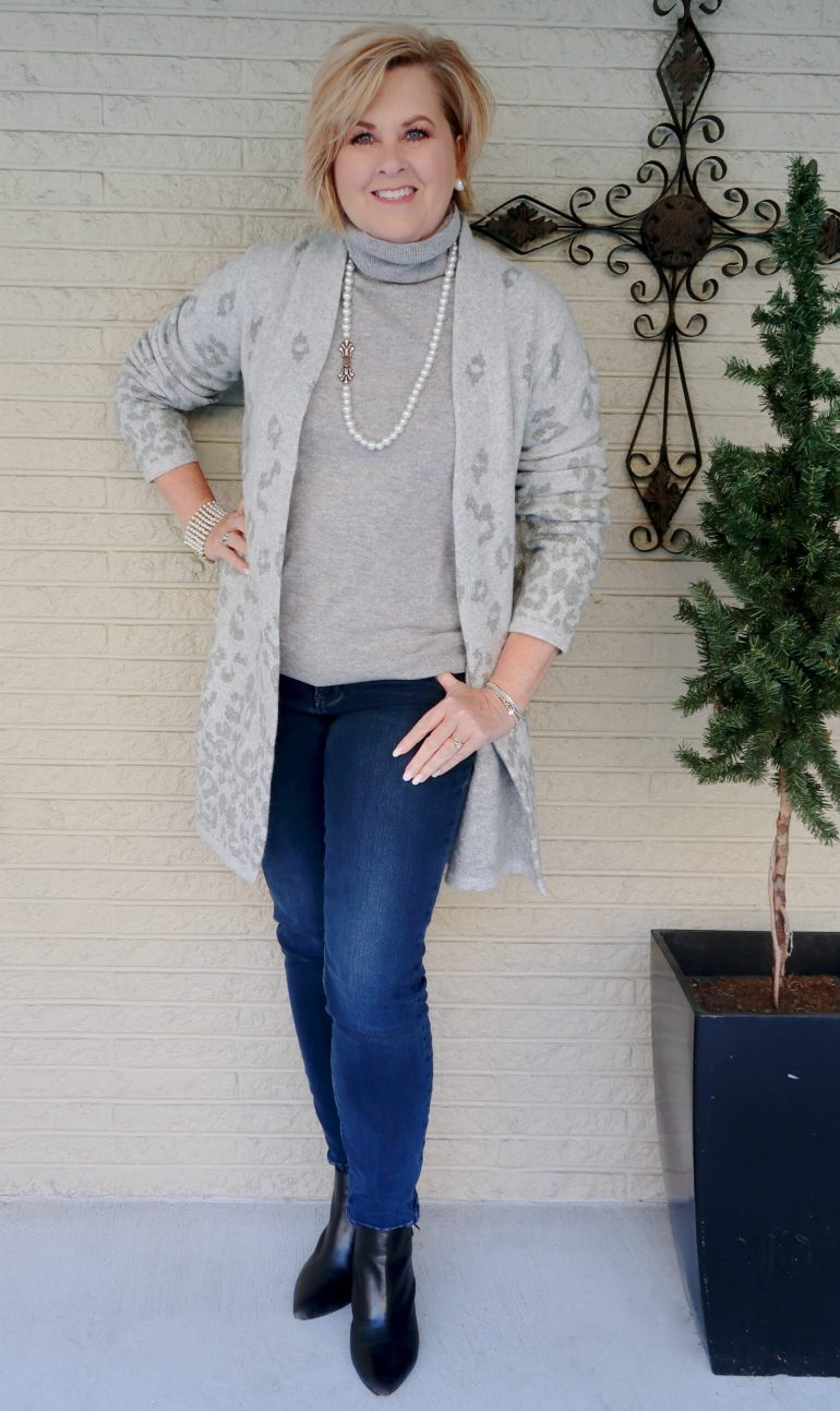 Gray Cashmere Turtleneck and Cardigan