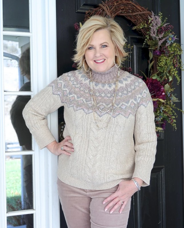 Fashion Blogger 50 Is Not Old styling a monochromatic look with a beige Fairisle sweater from Chico's