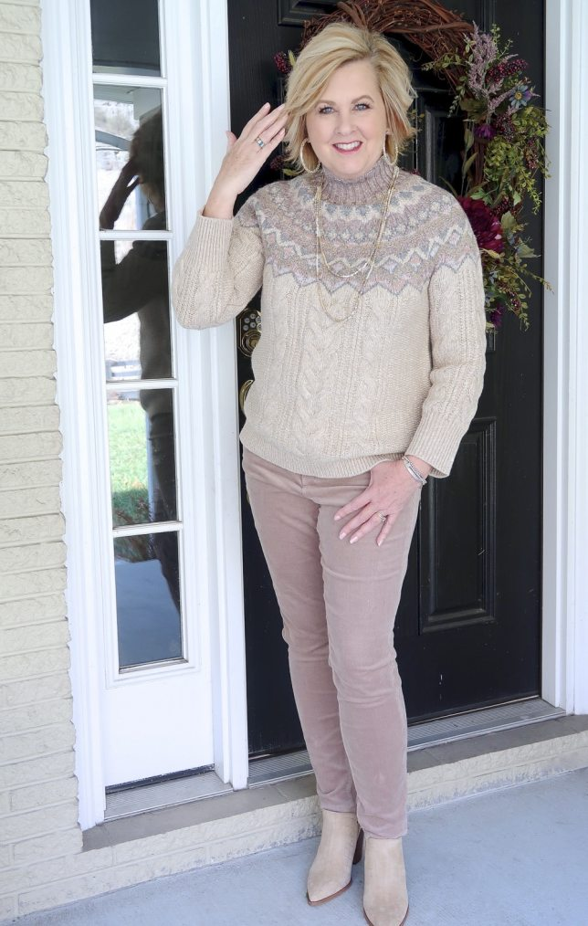 Fashion Blogger 50 Is Not Old styling a monochromatic look in beige with a sweater and corduroy pants