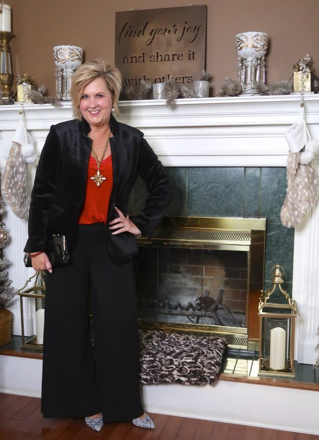 stylish and elegant velvet holidays outfit