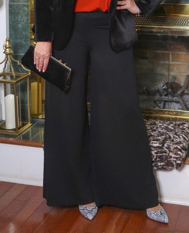 wide leg black pants for elegant holidays