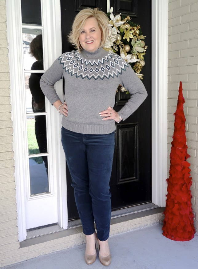 Fashion Blogger 50 Is Not Old wearing a Fairisle Sweater