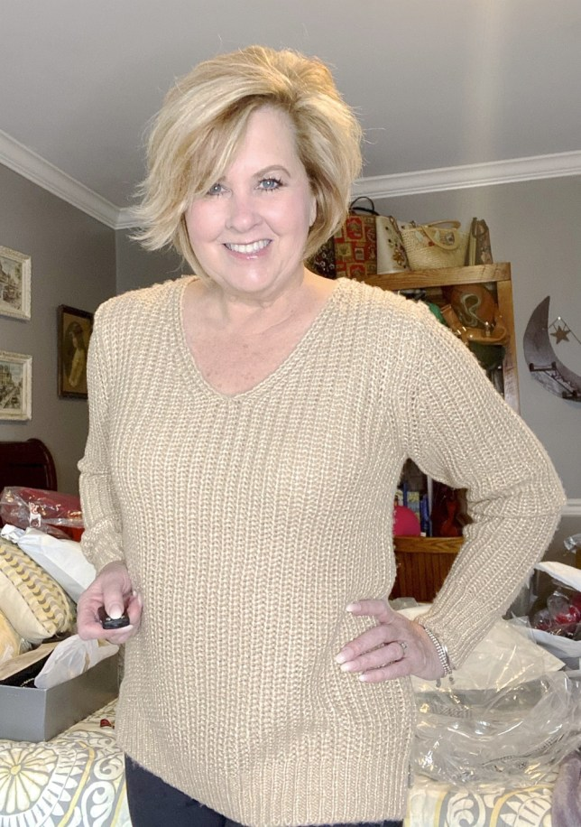 Gold metallic sweater worn by Fashion Blogger 50 Is Not Old