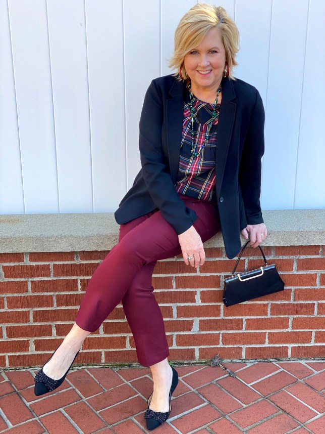 Black blazer, a plaid top, burgundy ankle pants, and black jeweled flats worn by Fashion Blogger 50 Is Not Old