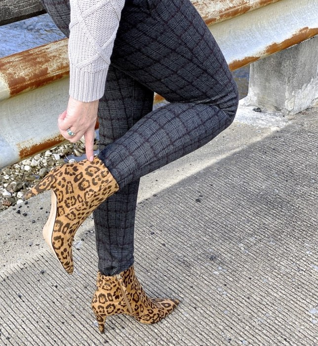 50 Is Not Old blogger showing the back of an animal print boot