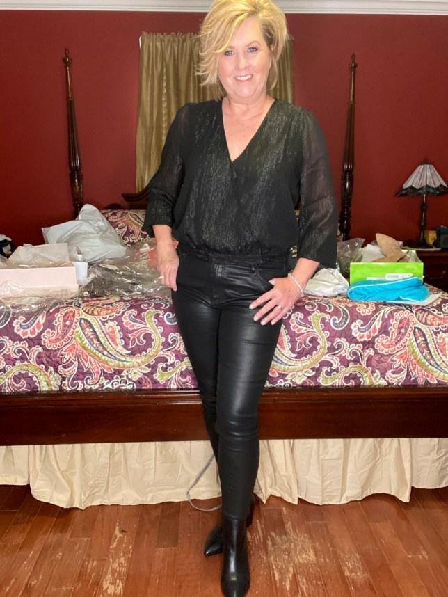 A black on black outfit worn by fashion blogger 50 Is Not Old