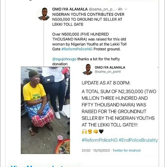 Nigerian youths #endsars: nigerian youths blessed groundnut seller with over n2million at lekki toll gate (video) #EndSars: Nigerian Youths blessed Groundnut seller with over N2million at Lekki Toll gate (VIDEO) 20201016 080530 1