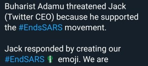 Picture of the Emoji from Twitter in support of End SARS insecurity Insecurity: End SARS Protest gets a massive global boost from Twitter IMG 20201016 075030 837 300x135 insecurity Insecurity: End SARS Protest gets a massive global boost from Twitter IMG 20201016 075030 837