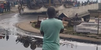 Petrol Tanker Falls Over At Festac