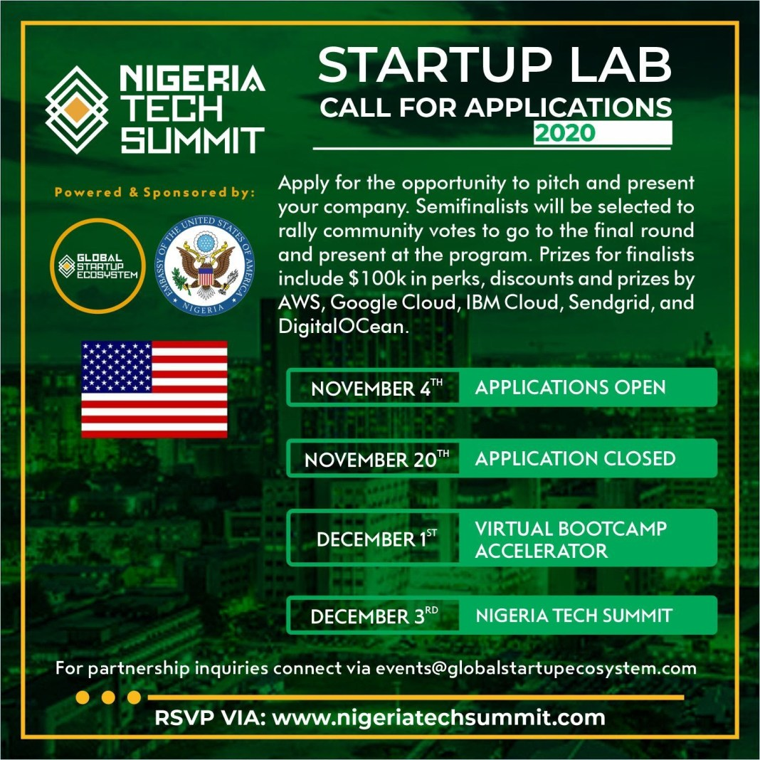 Grants: Nigeria Tech Summit n38million grant for entrepreneurs, see how to apply - NIGERIA TECH SUMMIT START UP APPLICATION 1 - N38million grant for entrepreneurs, see how to apply