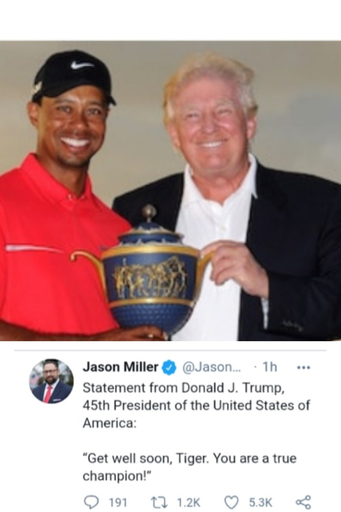 - img 1614139348599 - After LA Crash, Trump Wishes Tiger Woods A Speedy Recovery