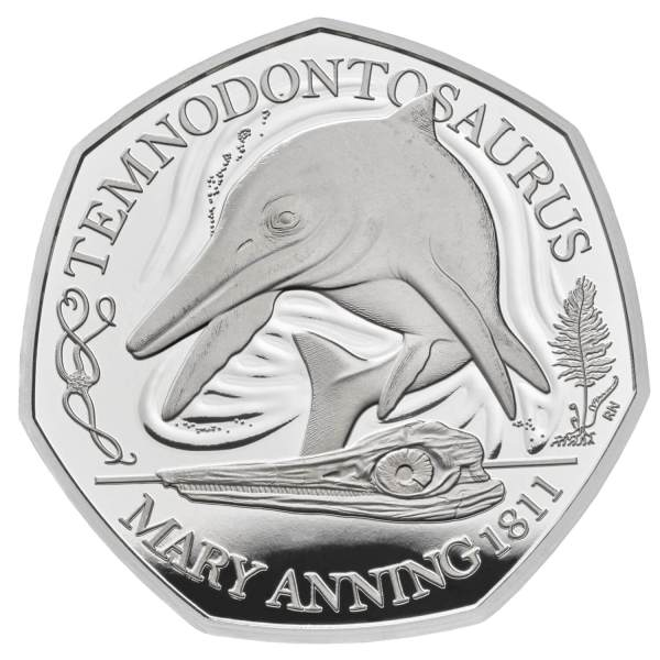 Temnodontosaurus 50p Silver Coin