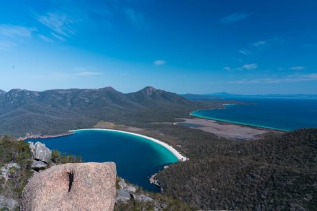 The view from Mt Amos, a 4km hike in Freycinet National Park overlooking the world famous Wineglass Bay.