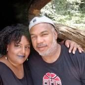 Jimmy and I in a fallen redwood tree.