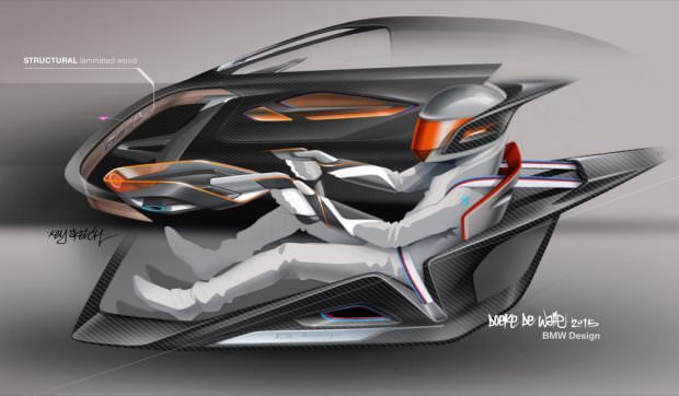 BMW 3.0 CSL Hommage R interior sketch