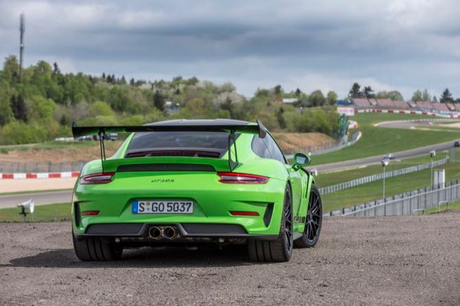 Porsche 911 GT3 RS rear view parked
