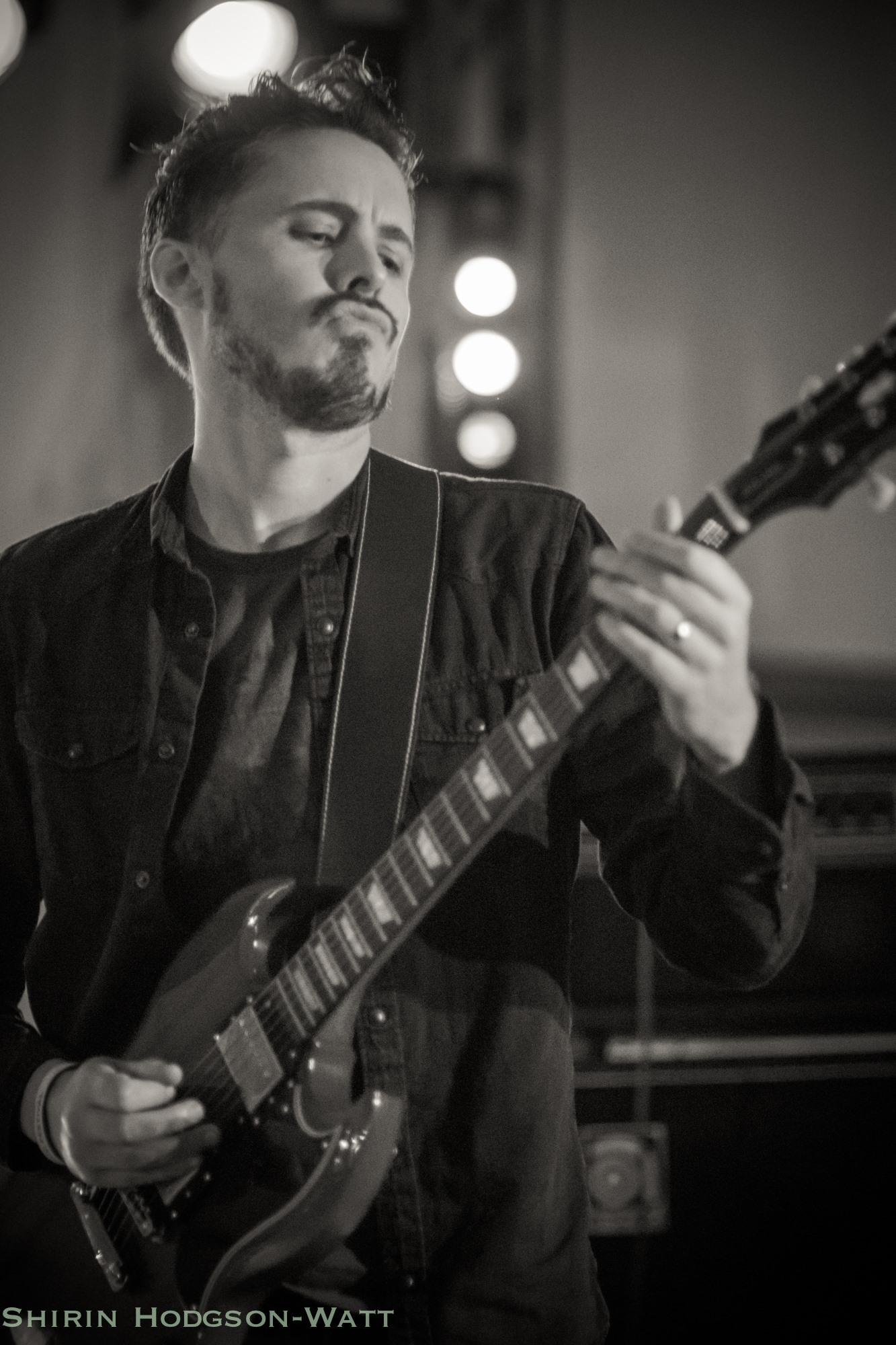 Andy Limn playing guitar with 50 Year Storm on the BBC Introducing stage at Looe Music Festival 2017