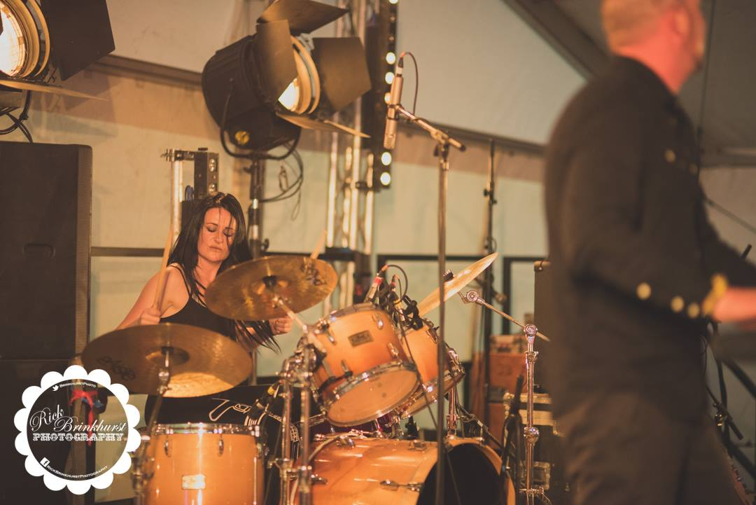 Emma Limn drumming with 50 Year Storm on the BBC Introducing stage at Looe Music Festival 2017