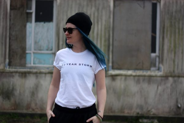 50 Year Storm Lighthouse T-Shirt White, Front View, Worn by Emma