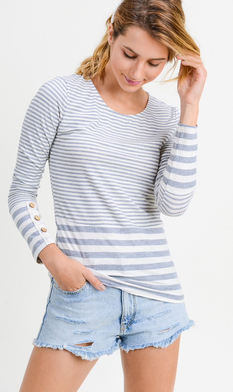 Striped Long Sleeve Top With Crochet And Button Detail 510 Threads