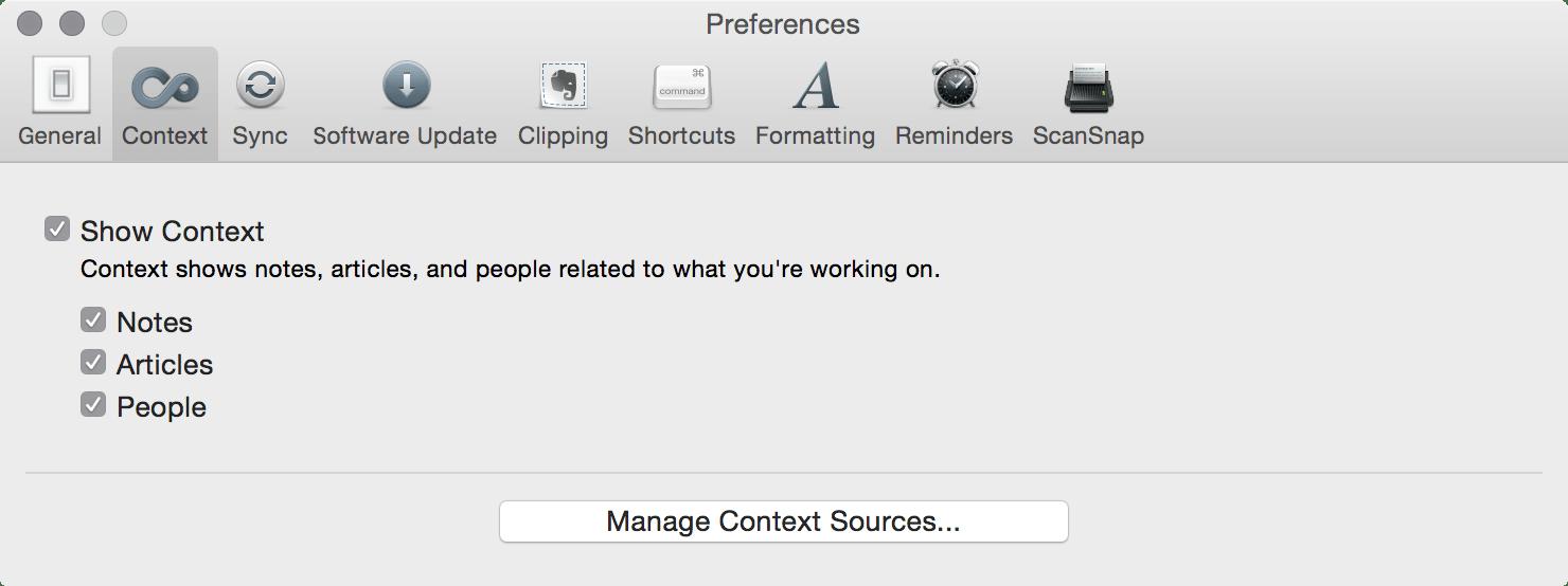 Evernote Contact - Mac OS X