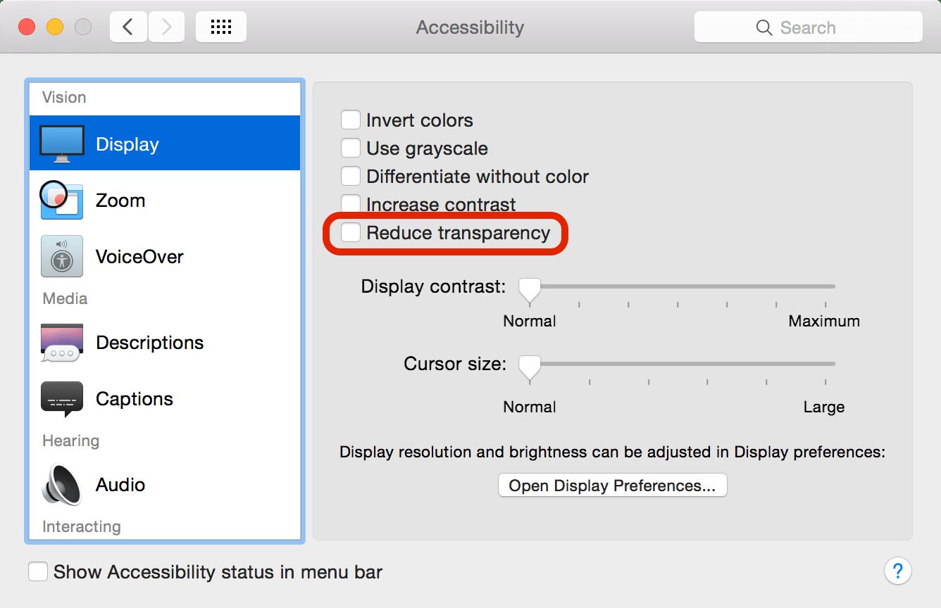 Turn off transparency in OS X Yosemite