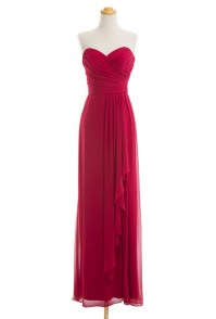 Wine Red Colored Long Bridesmaid Dresses Chiffon Cheap ...