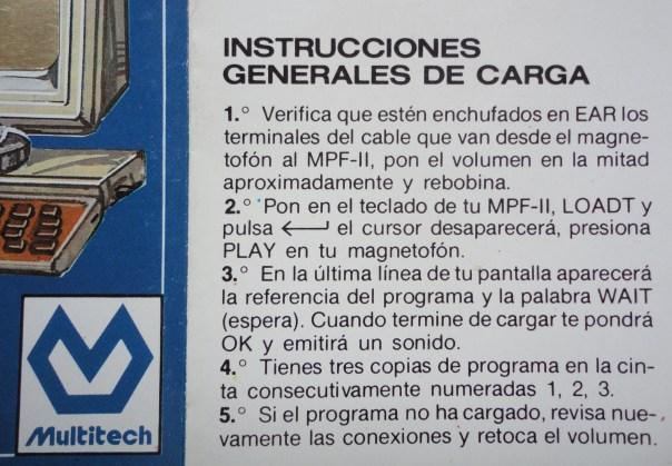 Instrucciones de carga