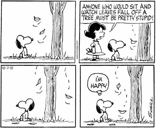 Snoopy and Lucy, Happiness is in the simple beautiful things in life.