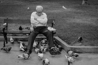 And old man sits on a park bench with his legs spread, he's slumped on the bench with hands folded and looking down as if he's hot too happy with his luck.
