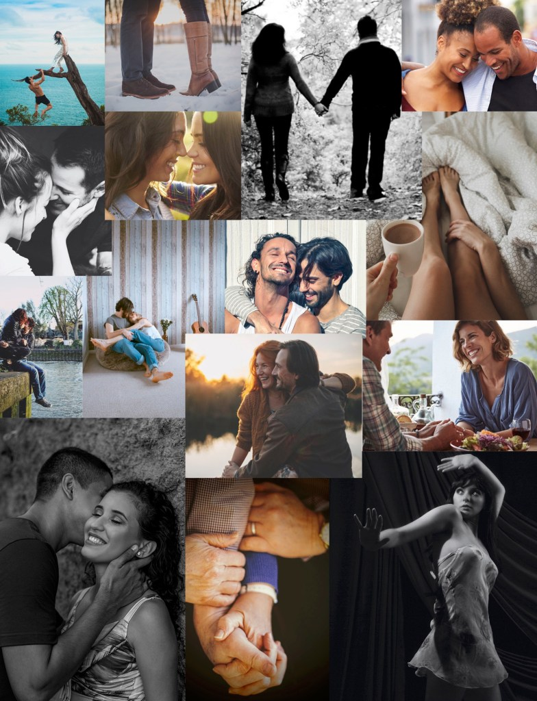 multiple pictures of men and woman together, women and women , men and men, hugging, talking, walking and being romantic together