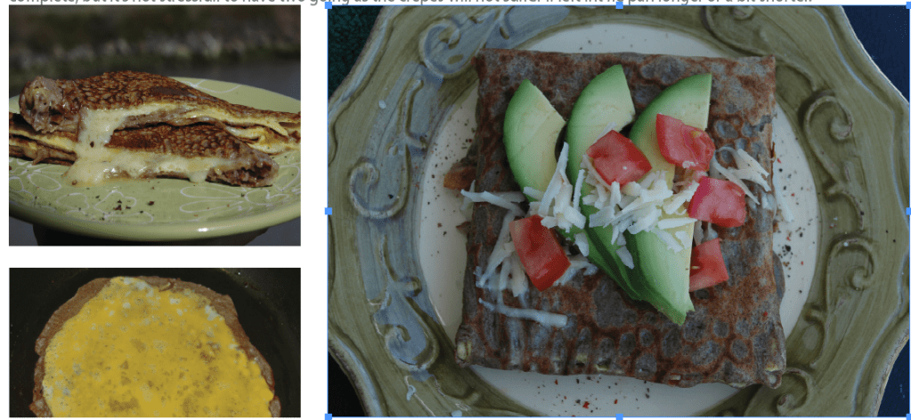 three pictures showing the galettes being cooked and served on a place topped with avocados, tomatoes and cheese.