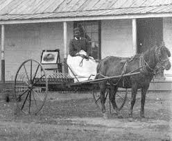 Stagecoach Mary in a buckboard being pulled by a mule in the 1800s