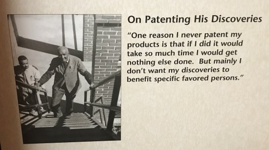 A quote from George Washington Carver about the patenting his discoveries.
