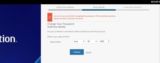 Brute Force Vulnerability in Sony Entertainment Online's Account Password Reset Webpage