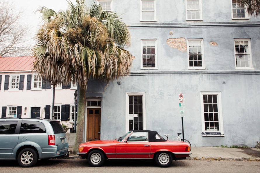 Classic car in front of a building
