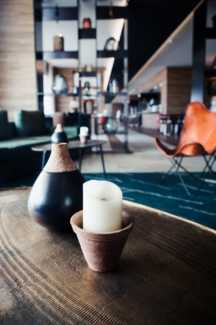 Candle and vase at Azor Hotel