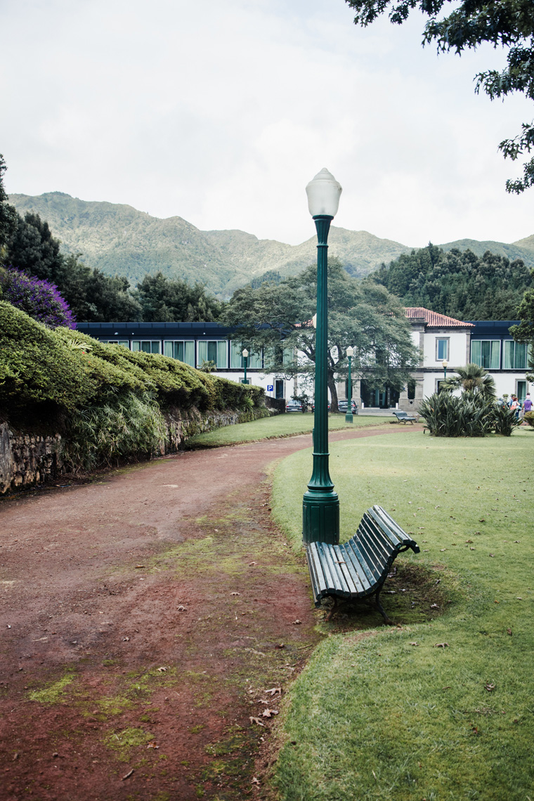 bench and path near Furnas Boutique Hotel