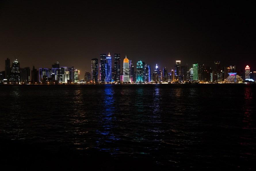 Doha skyline lit up at night