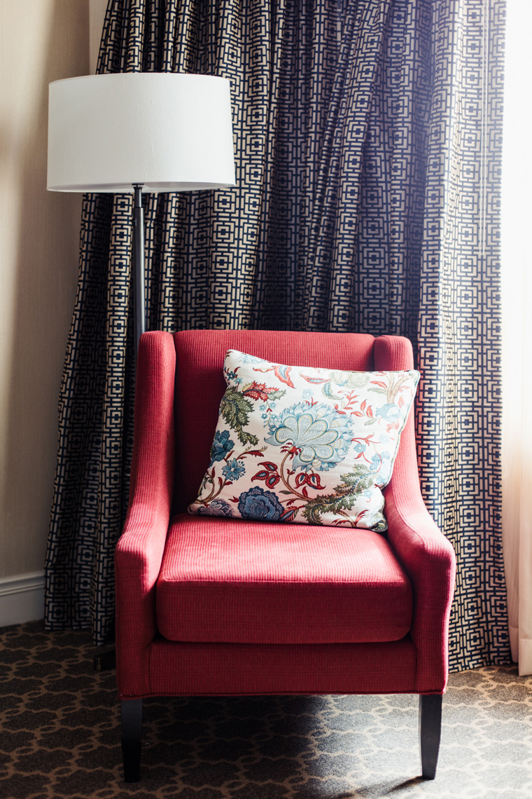 Chair with cushion in Hotel Roanoke