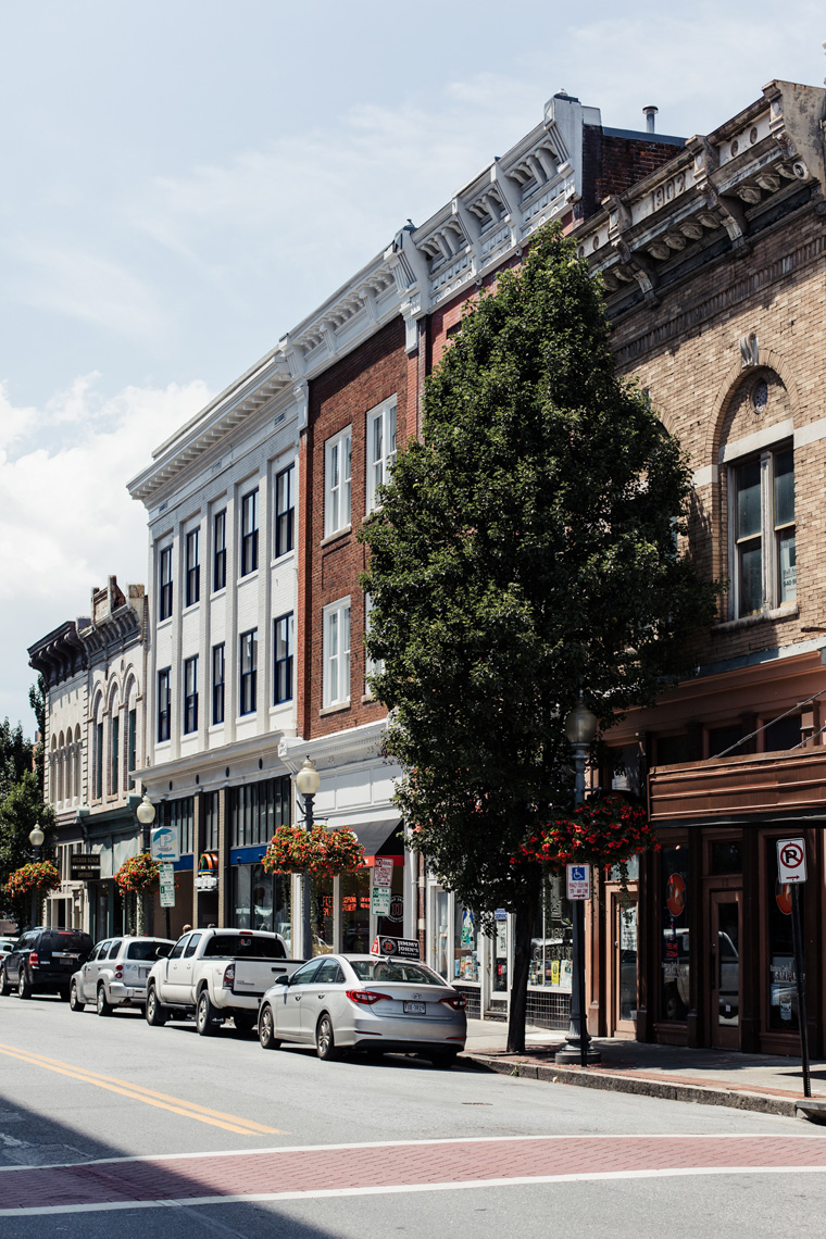 Street and historic buildings in Roanoke, Virginia
